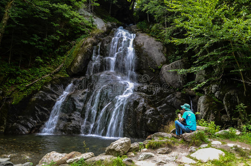 Moss Glen Falls, Stowe, Lamoille County, VT, USA stockfotografie