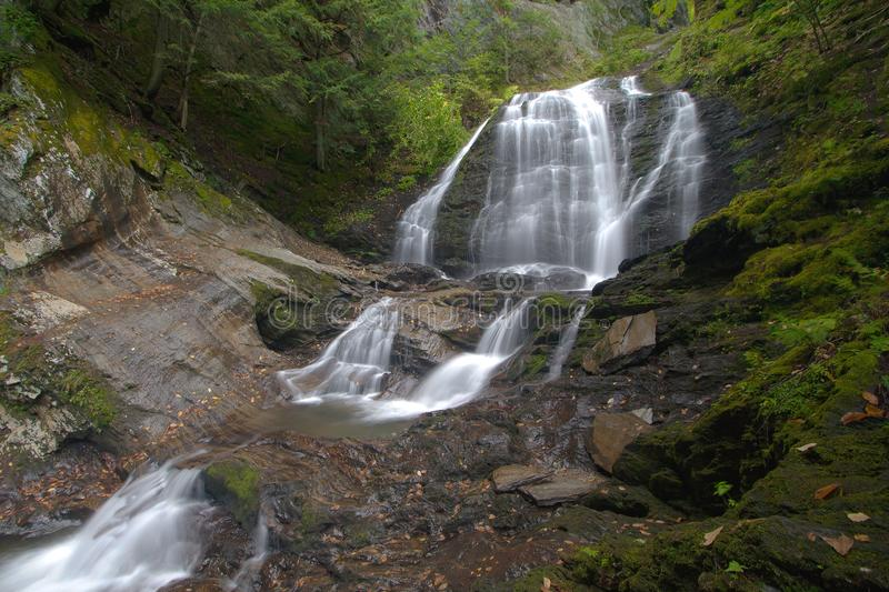 Moss Glen Falls in Stowe, Vermont, USA royalty free stock image