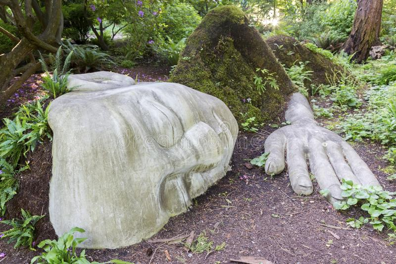 The Moss Lady Beacon Hill Park Victoria Vancouver Island BC stock images