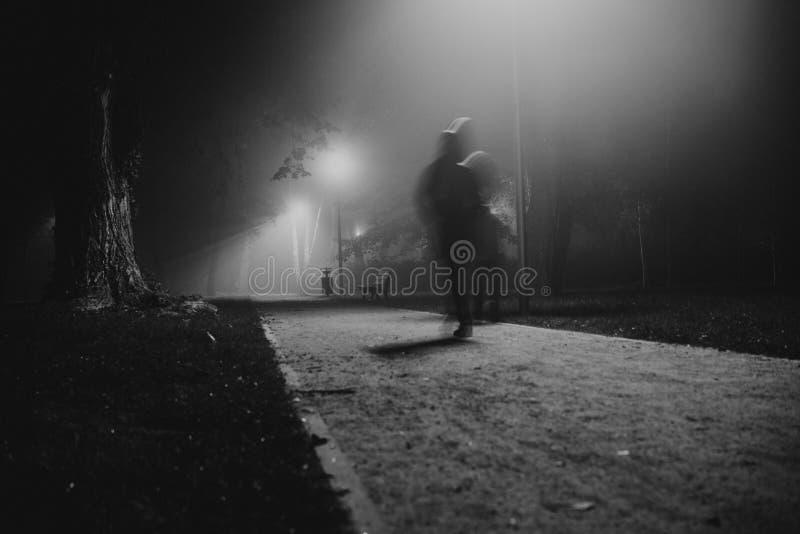 Mosso della gente nel parco, nella notte e nella nebbia pesante fotografia stock