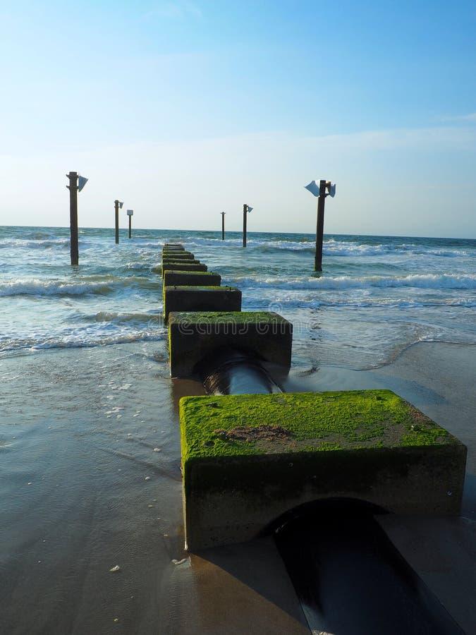 Mossy Pier on the Atlantic Coastline at Carolina Beach. An mossy pier jutting into the Atlantic Ocean in Carolina Beach, North Carolina stock image