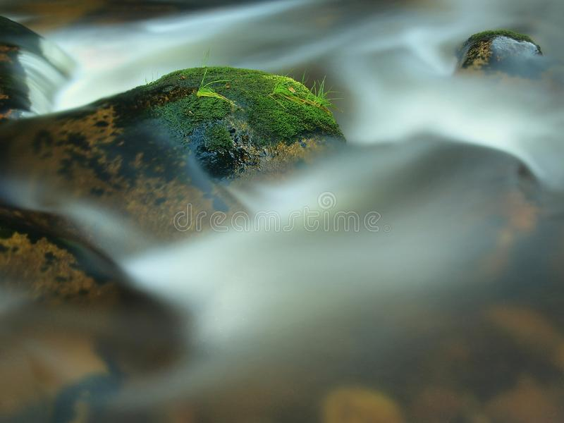 Mossy stone in blurred blue waves of mountain stream. Cold water is running and turning between boulders and bubbles create tr. Mossy stone in blue waves of stock photos