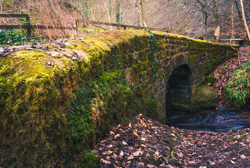 Mossy stone bridge royalty free stock image