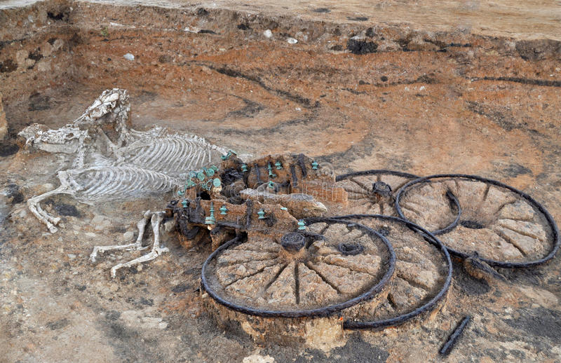 The most ancient thracian burial - from 1 century. Ancient thracian chariot with two horses, as a part of nobel man's burial from mound in the village of royalty free stock photography