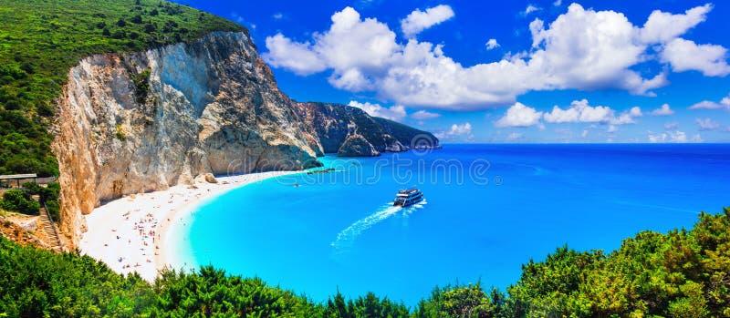 Most beautiful beaches of Greece series - Porto Katsiki in Lefkada, Ionian islands royalty free stock photography