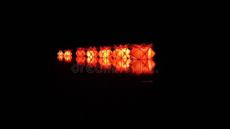 Most beautiful floating wesak lantern. There are seven lanterns & call `nelum mal kudu royalty free stock photo