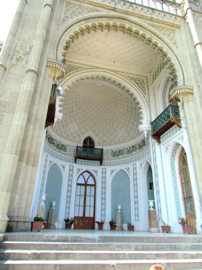 The most beautiful part of the Vorontsov Palace in the Gothic style with a high ceiling painted with garlands and flower wreaths. The Vorontsov Palace is located stock photos