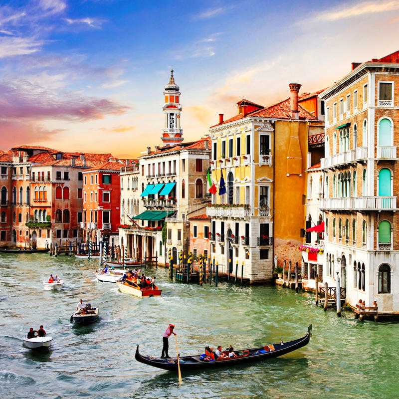 Most beautiful and romantic city Venice over sunset. Italy. Panoramic view of Venice town over sunset,Italy royalty free stock photos