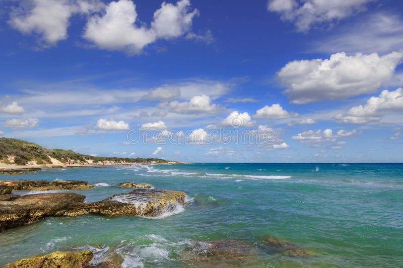 The most beautiful sandy beaches of Apulia. Salento coast: Frassanito Beach ITALY. From Torre Dell`Orso and Otranto the sandy coastline is characterized by royalty free stock photos