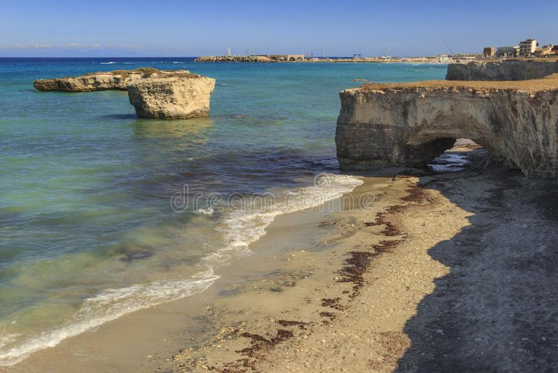The most beautiful sandy beaches of Apulia. Salento coast: San Foca Beach ITALY. stock photos