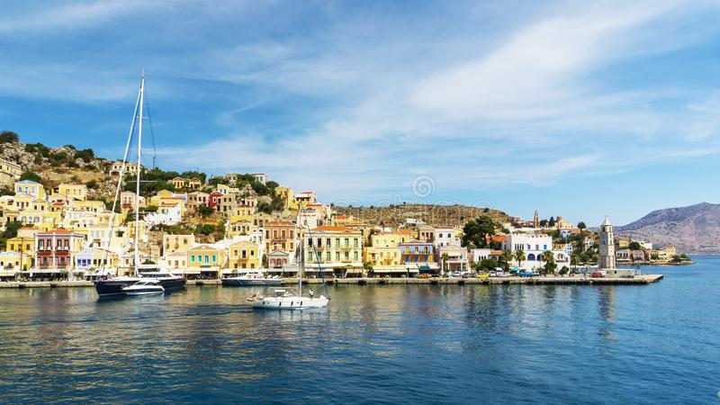 Magical Greek Island of Symi. Among the most beautiful small islands in Greece is the island of Symi. Just 8 kilometers from Rhodes, just 8 kilometers from the stock image