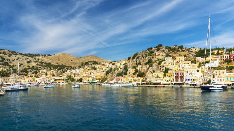Magical Greek Island of Symi. Among the most beautiful small islands in Greece is the island of Symi. Just 8 kilometers from Rhodes, just 8 kilometers from the stock photo