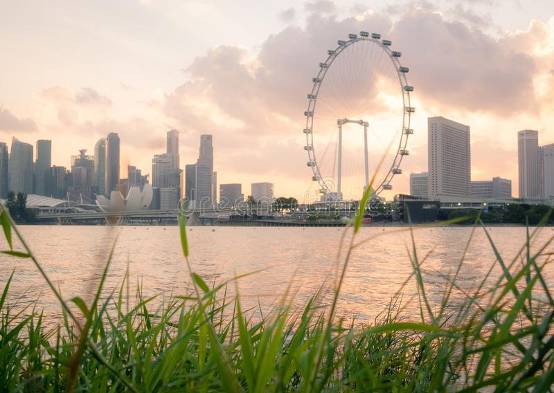 The most beautiful Viewpoint sunset in Singapore city royalty free stock photos