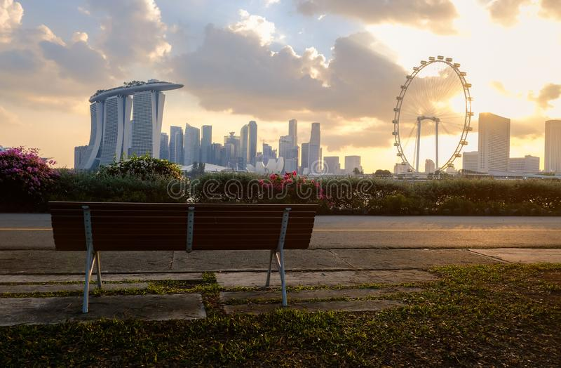 The most beautiful Viewpoint sunset in Singapore city royalty free stock images