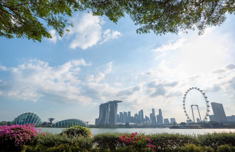 The most beautiful Viewpoint sunset in Singapore city stock photography