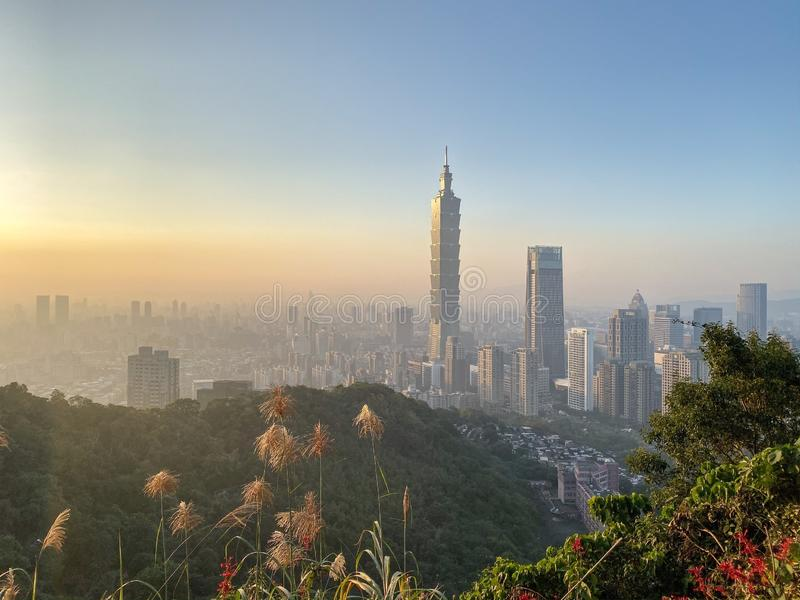The most beautiful Viewpoint taipei city sunset in taiwan stock image