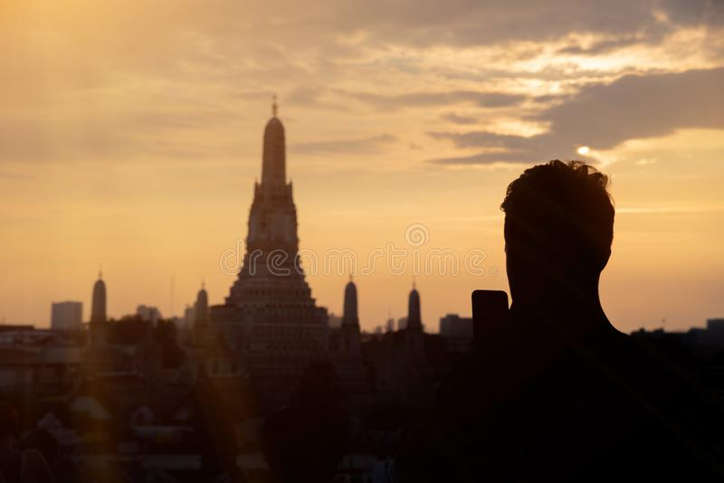 The most beautiful Viewpoint Wat Arun,Buddhist temple in Bangkok, Thailand stock image
