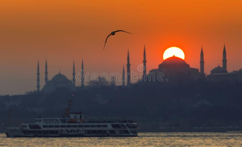 Blue Mosque and Hagia Sophia./istanbul stock image