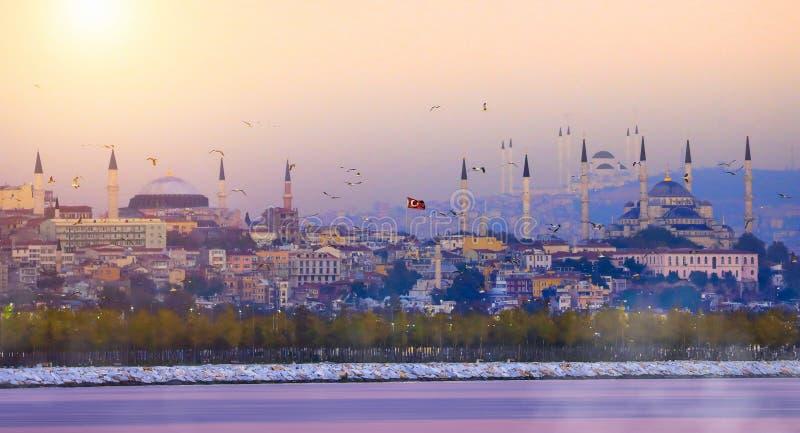 Blue Mosque and Hagia Sophia./istanbul stock photo