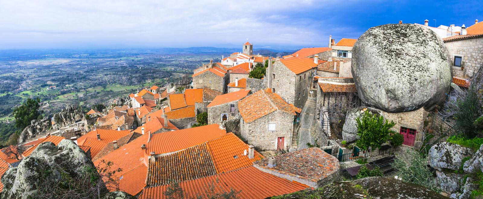 Most beautiful villages - Monsanto, Portugal. Most beautiful villages - Monsanto , over granite rocks . Portugal stock images