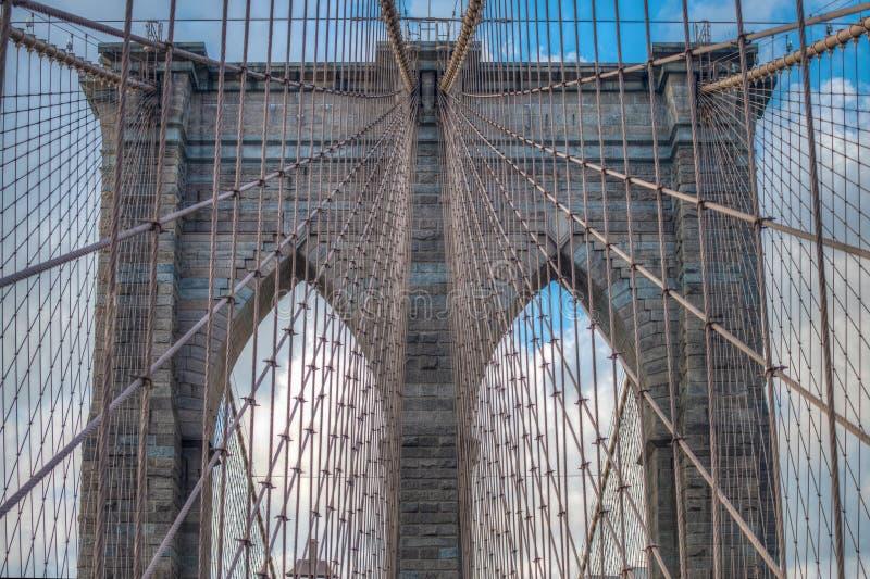 Most Brooklyński - abstraktów szczegóły - Miasto Nowy Jork zdjęcia stock