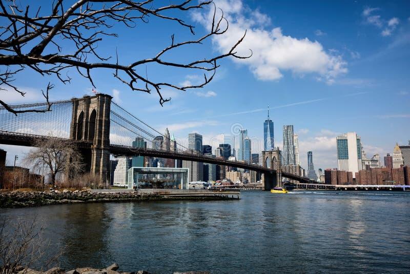Most Brooklyński panorama w Miasto Nowy Jork obrazy royalty free
