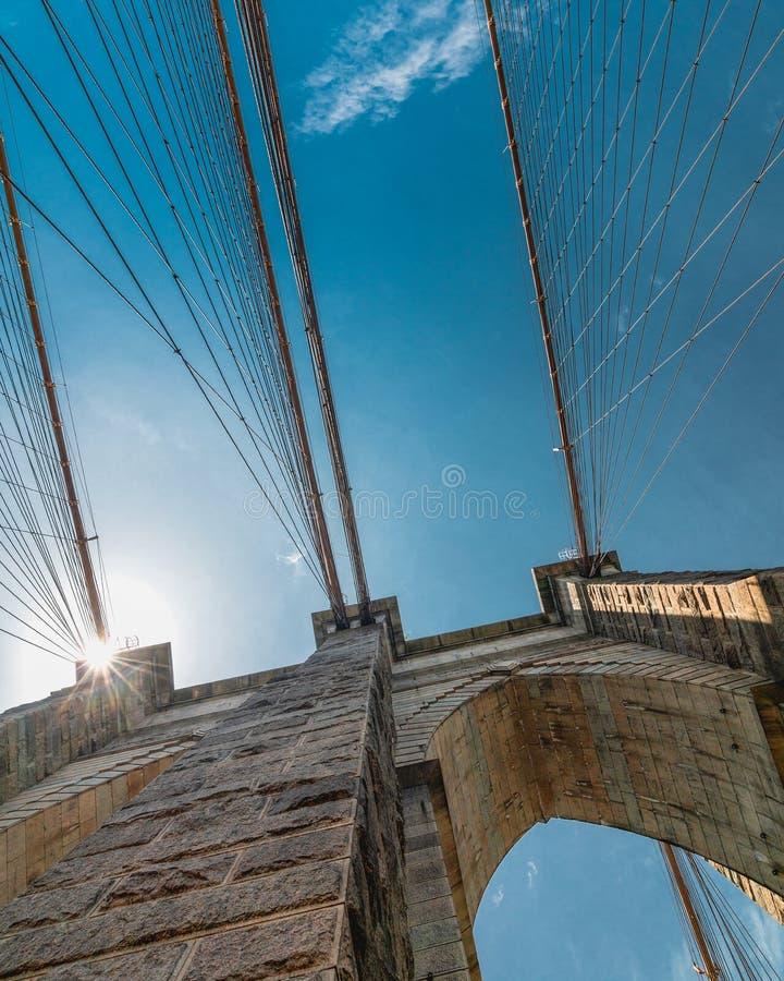 Most Brooklyński Przeciw Jaskrawemu niebieskiemu niebu, Miasto Nowy Jork Pionowo sztandar zdjęcie stock