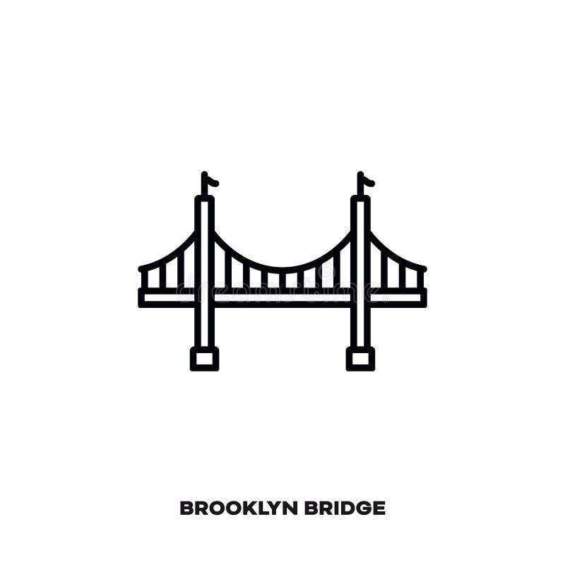 Most Brooklyński przy Miasto Nowy Jork, usa wektoru linii ikona royalty ilustracja