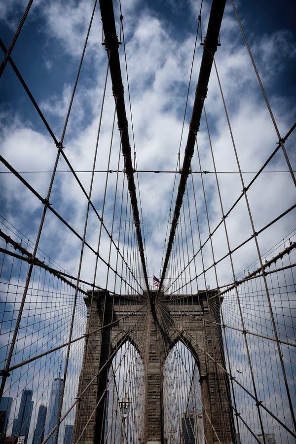 Most Brooklyński w Miasto Nowy Jork blisko lily farbuje miękki na widok wody zdjęcie royalty free