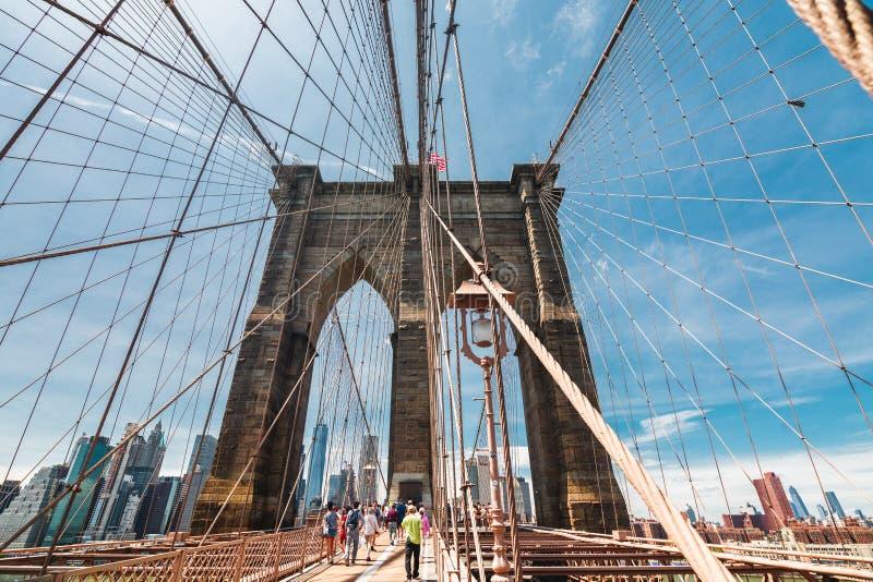 Most Brooklyński w Miasto Nowy Jork, pieszy linia zdjęcie royalty free