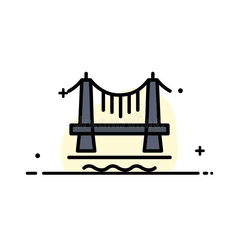 Most, budynek, miasta, pejzaż miejski Biznesowa linia Wypełniający mieszkanie ikony sztandaru Wektorowy szablon royalty ilustracja