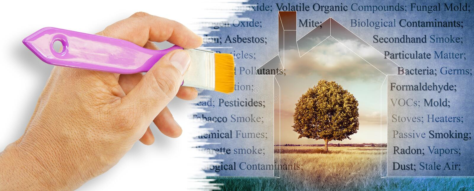 The most common dangerous domestic pollutants we can find in our homes - concept image.  royalty free stock photo