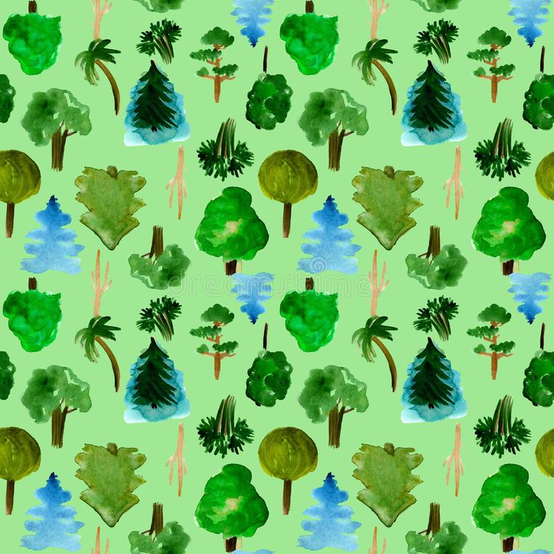 The most common trees seamless pattern on green background, hand-drawn watercolor illustration of pine, fir, willow palm royalty free illustration