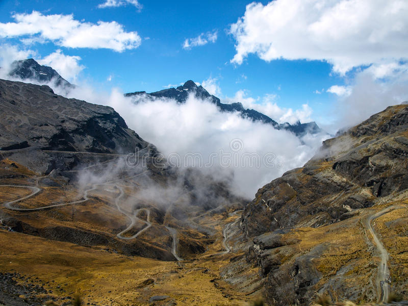 The most dangerous road in the world. (Bolivia stock photo