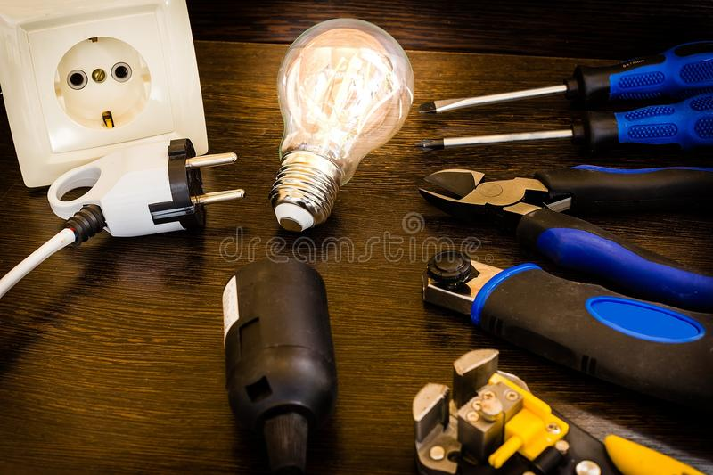 The most essential set of tools for repairs electricians stock photography