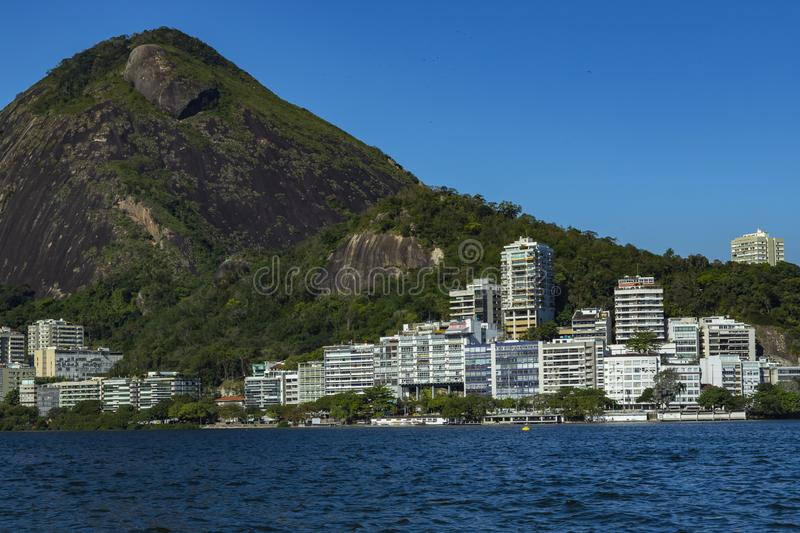 Most expensive apartments in the world. Wonderful places in the world. Lagoon and neighborhood of Ipanema, in Rio de Janeiro, Brazil, South America royalty free stock image