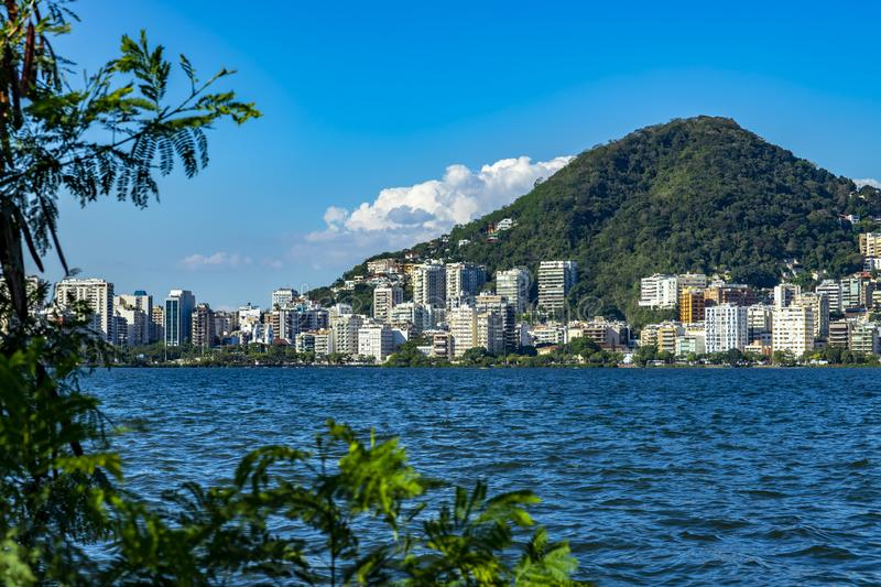 Most expensive apartments in the world. Wonderful places in the world. Lagoon and neighborhood of Ipanema, in Rio de Janeiro, Brazil, South America royalty free stock photography