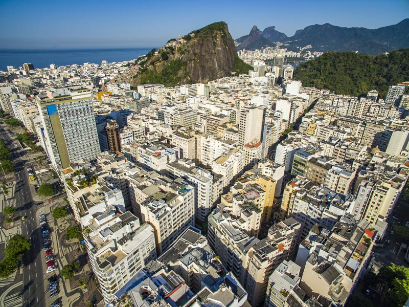 The most famous beach in the world. Wonderful city. Paradise of the world. Copacabana Beach in Copacabana district, Rio de Janeiro, Brazil. South America stock image