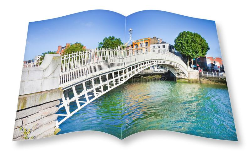 The most famous bridge in Dublin called Half penny bridge due to the toll charged for the passage - 3D render opened photo book is stock images