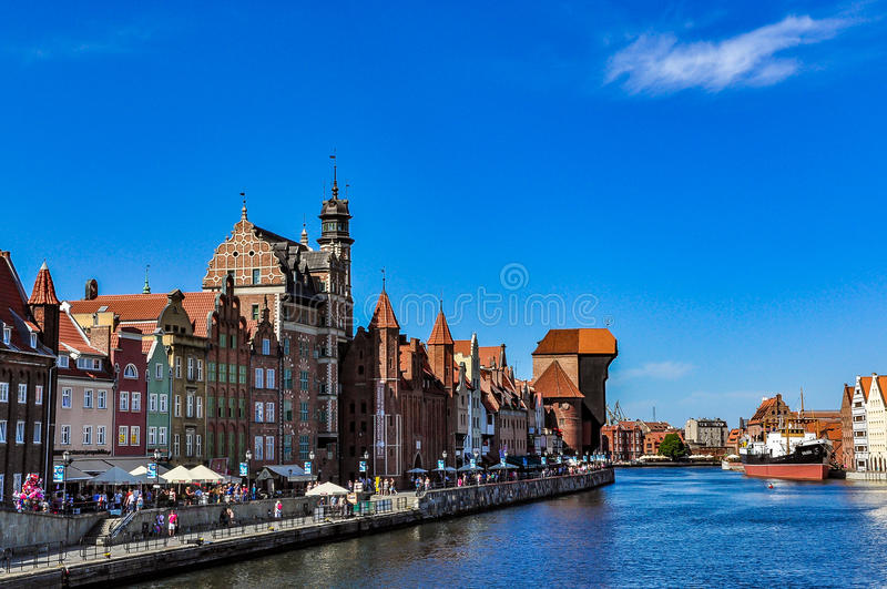 The most famous cityscape of Gdansk with the historic crane stock photography