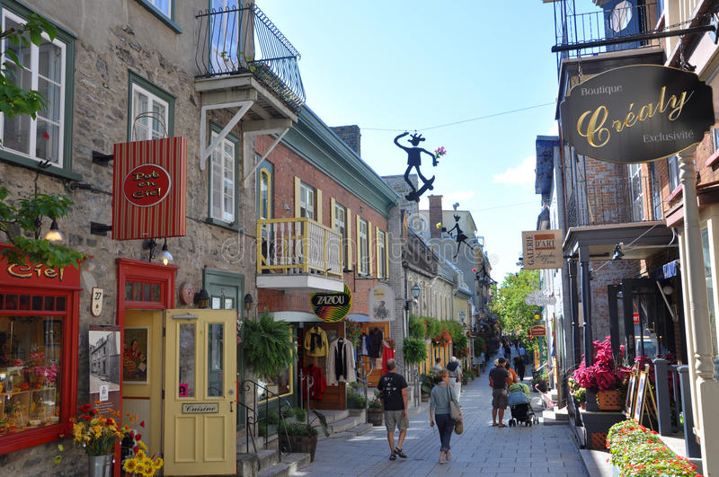 Rue du Petit-Champlain, Quebec City, Canada. The most famous commercial street, Rue du Petit-Champlain at Lower Town (Basse-Ville) in Quebec City, Quebec, Canada royalty free stock photo