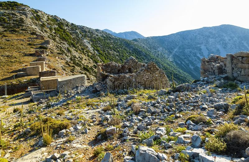 The most famous mills built in the 15th century. that remained in Crete are on the Seli Ambeli Pass on the Lassithi. Plateau. Historical and Touristic place royalty free stock photo