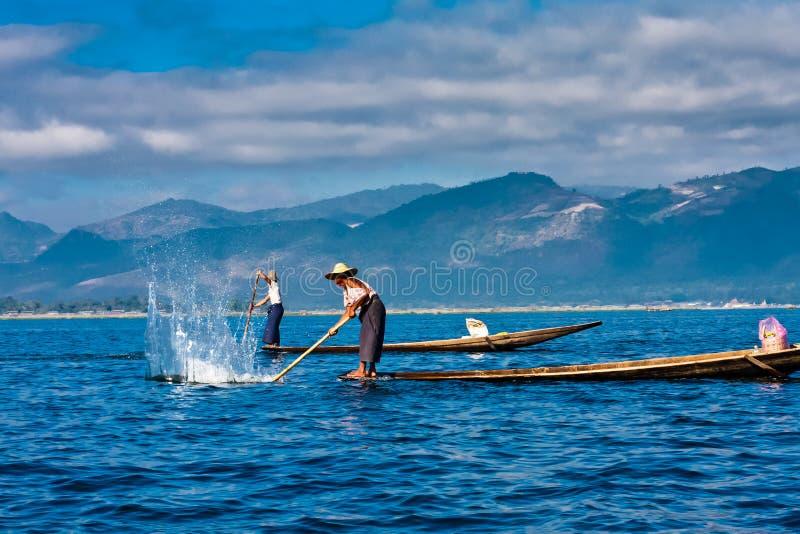Fishermen on the Inle Lake, Taunggyi, Myanmar royalty free stock photography