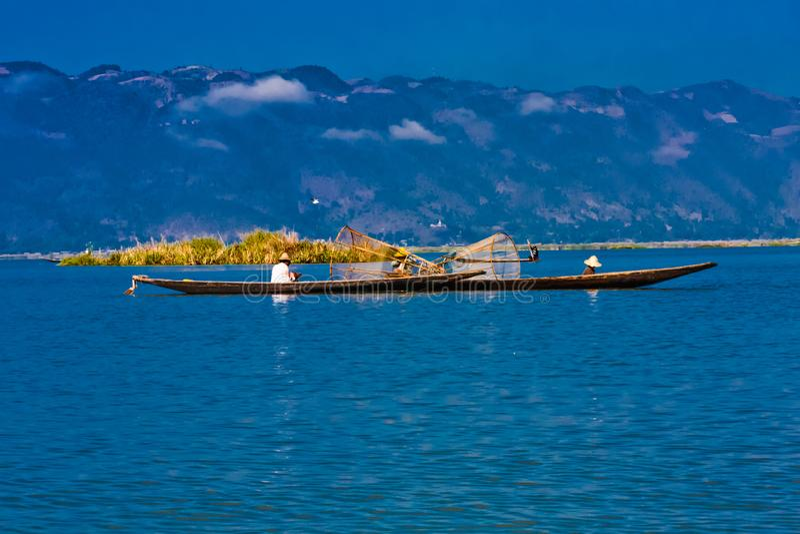 Iconic fishermen on the Inle Lake, Taunggyi, Myanmar royalty free stock photography