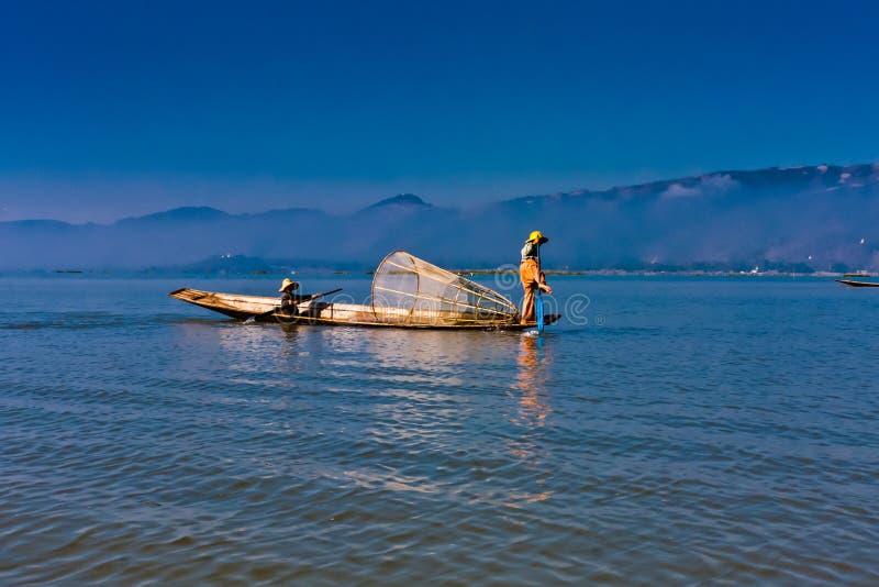 Iconic fishermen on the Inle Lake, Taunggyi, Myanmar royalty free stock photos