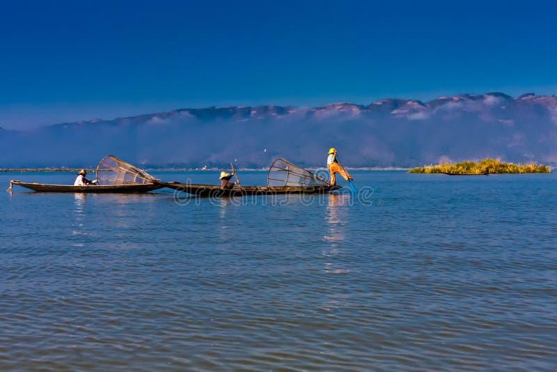 Iconic fishermen on the Inle Lake, Taunggyi, Myanmar royalty free stock images