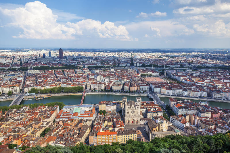 The most famous view of Lyon. From the Notre Dame de Fourviere Basilica stock image