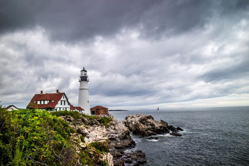 The Portland Head Lighthouse in Cape Elizabeth, Maine royalty free stock photography