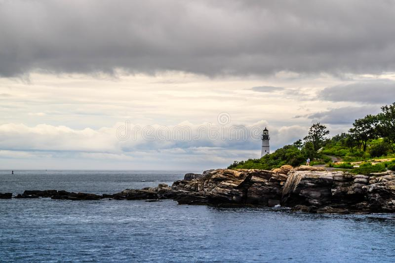 The Portland Head Lighthouse in Cape Elizabeth, Maine. The most iconic lighthouse in southern Maine of Cape Elizabeth stock photos