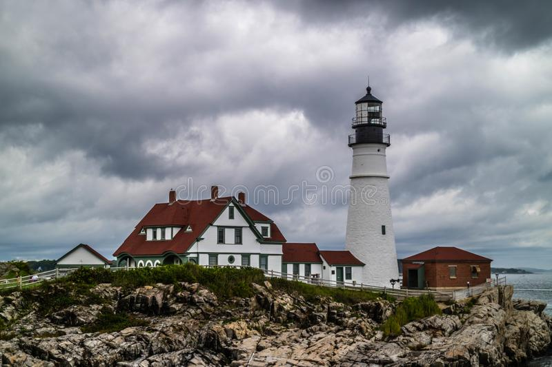 The Portland Head Lighthouse in Cape Elizabeth, Maine. The most iconic lighthouse in southern Maine of Cape Elizabeth royalty free stock photography